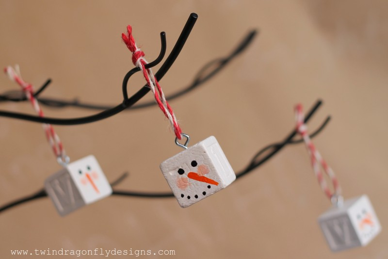 Snowman Block Ornament
