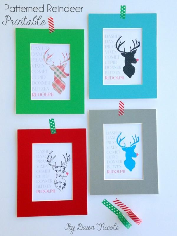 Patterned Reindeer Printable