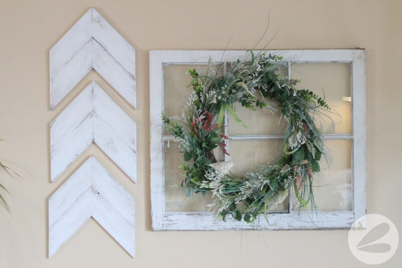 Spring Wreath and Vintage Window