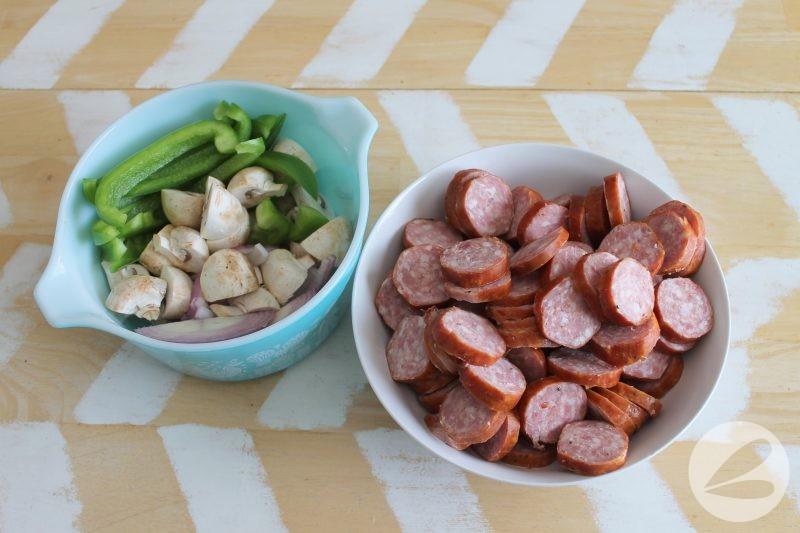 mushroom and green pepper sausage skillet recipe