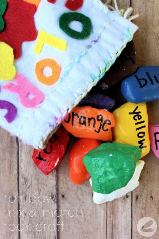 rainbow mix & match painted rock craft