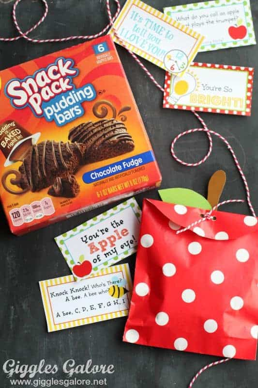 snack pack pudding bars apple treat bags and lunch box notes
