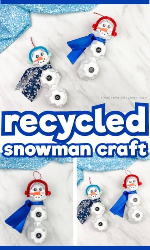 snowman diy ornament from egg cartons pin image
