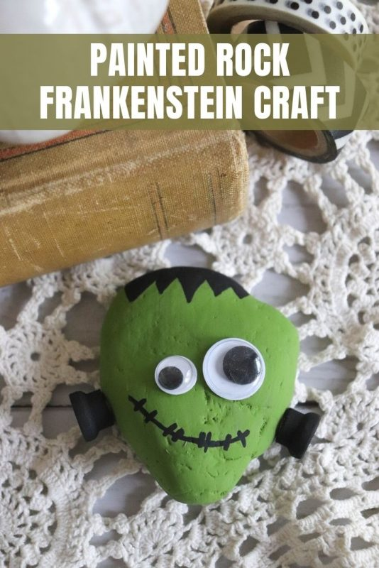 painted rock frankenstein