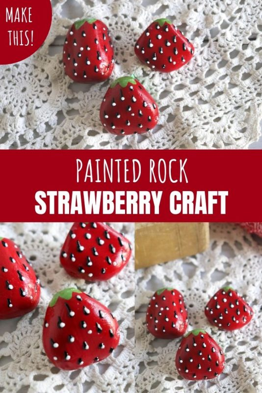 painted rock strawberry craft