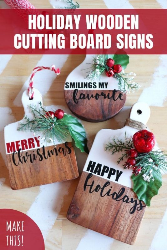 holiday cutting board signs