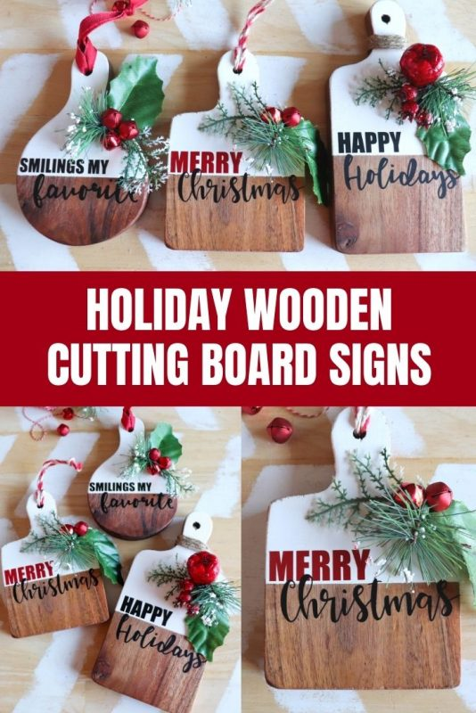 holiday wooden cutting board signs