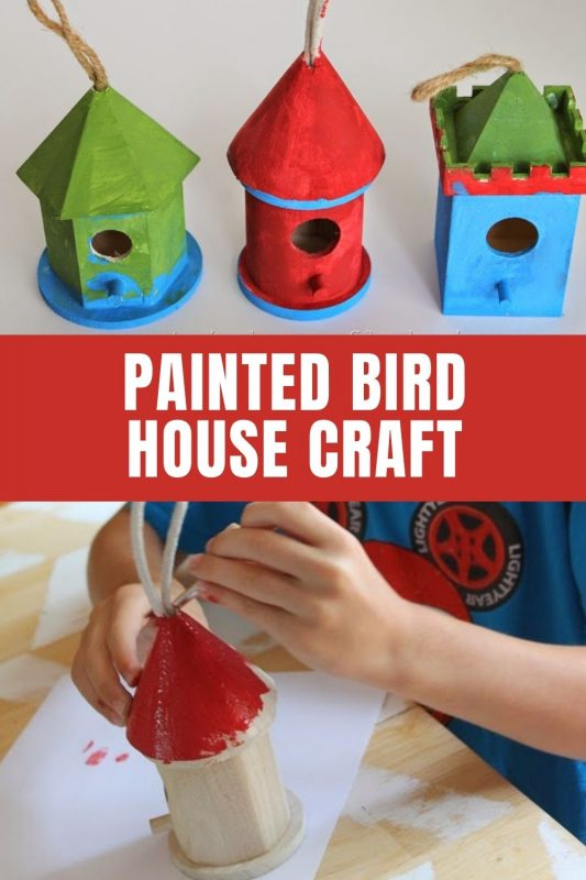 painted bird house craft idea
