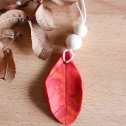polymer clay leaf ornament