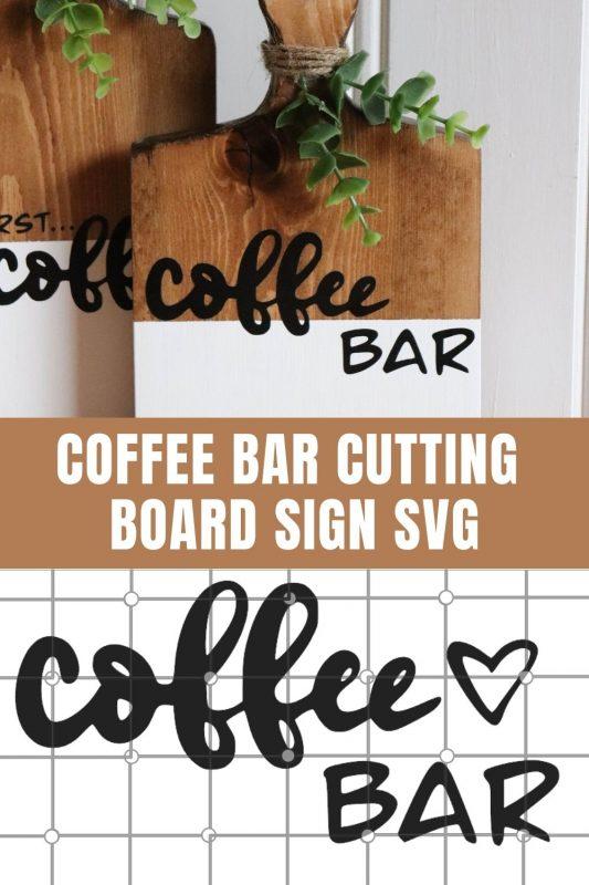 coffee bar cutting board signs svg