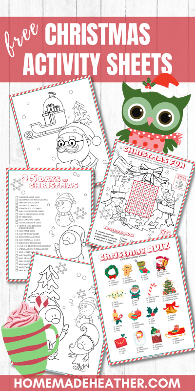 christmas printable activity sheets