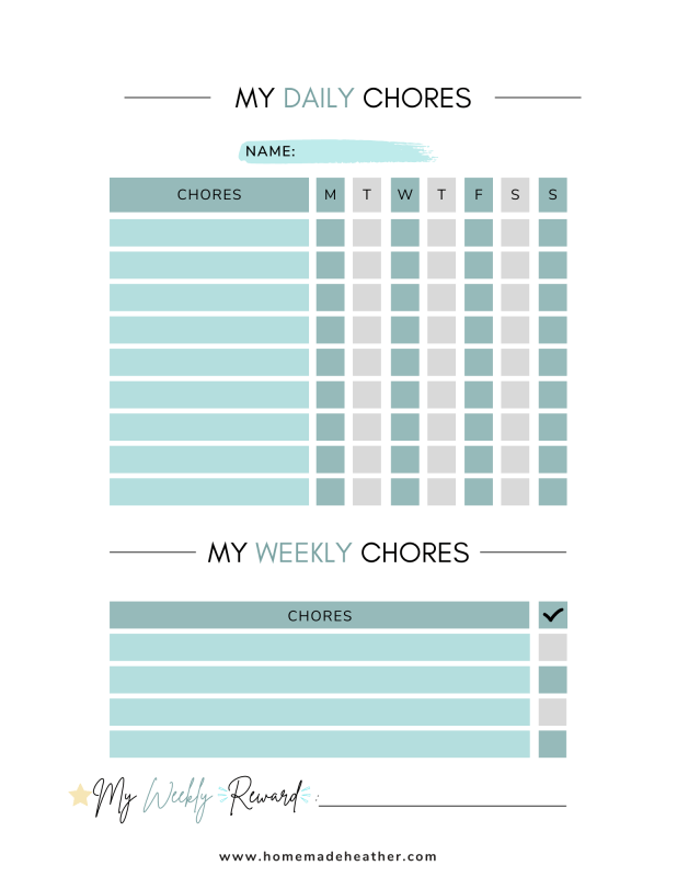 daily chore chart squares