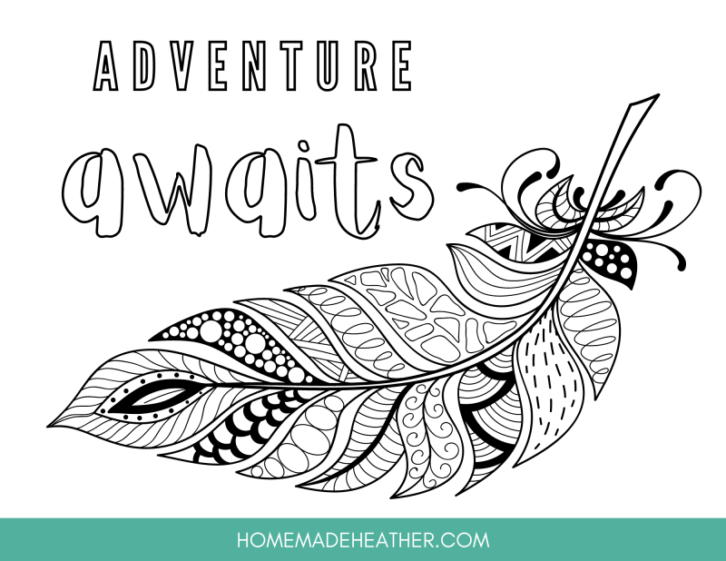 feather printable coloring page