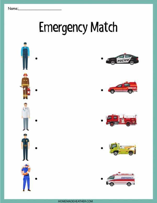 Emergency Match Printable Work Sheet