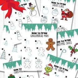 Free How to Draw Christmas Printables