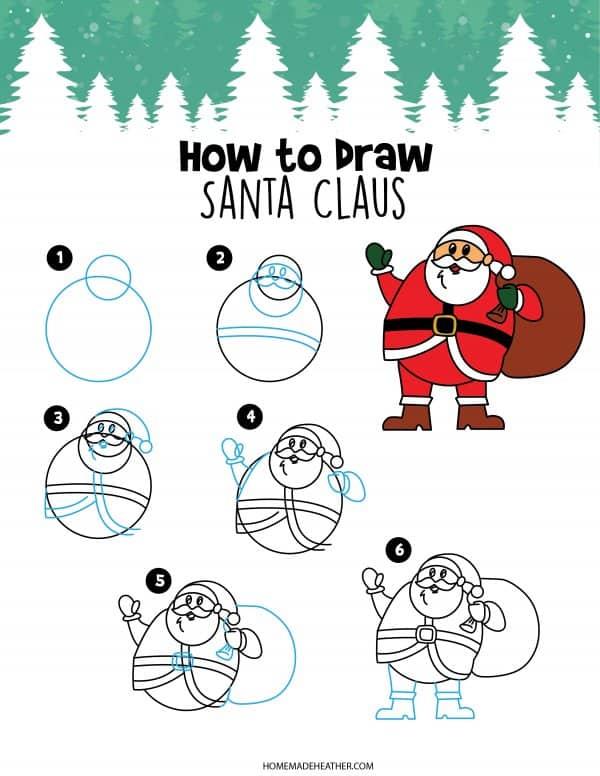 Free How to Draw Santa Printable