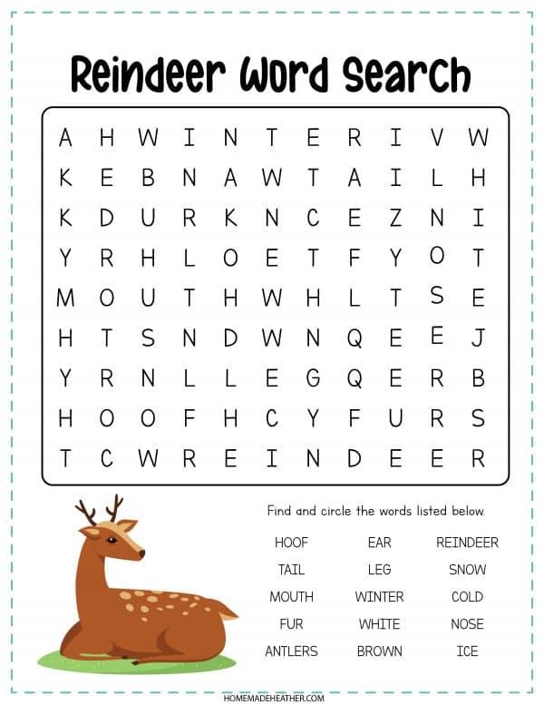 Reindeer Word Search Printable