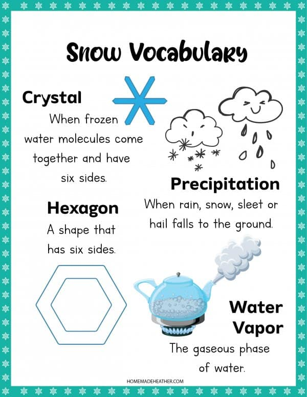 Snow Vocabulary Printable
