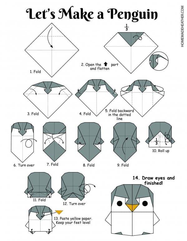 Free Origami Penguin Printable Design