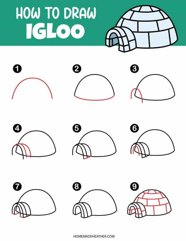 Free How To Draw Igloo Printable