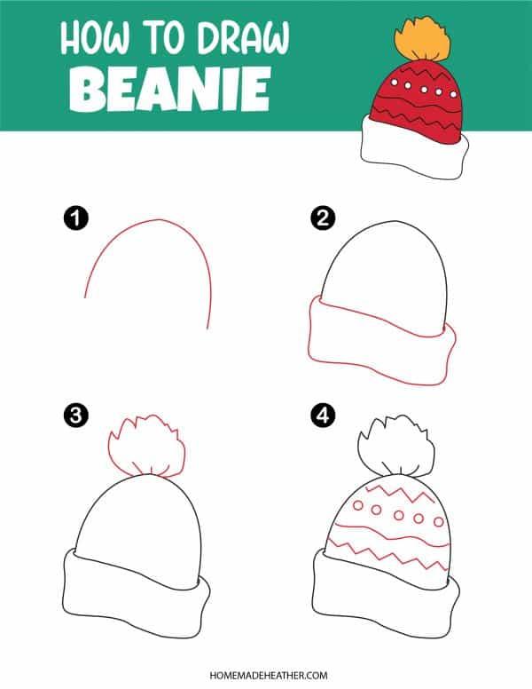 Free How To Draw Beanie Printable