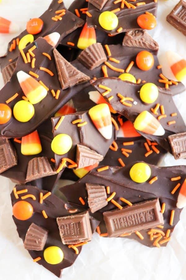 Leftover Candy Halloween Bark Recipe
