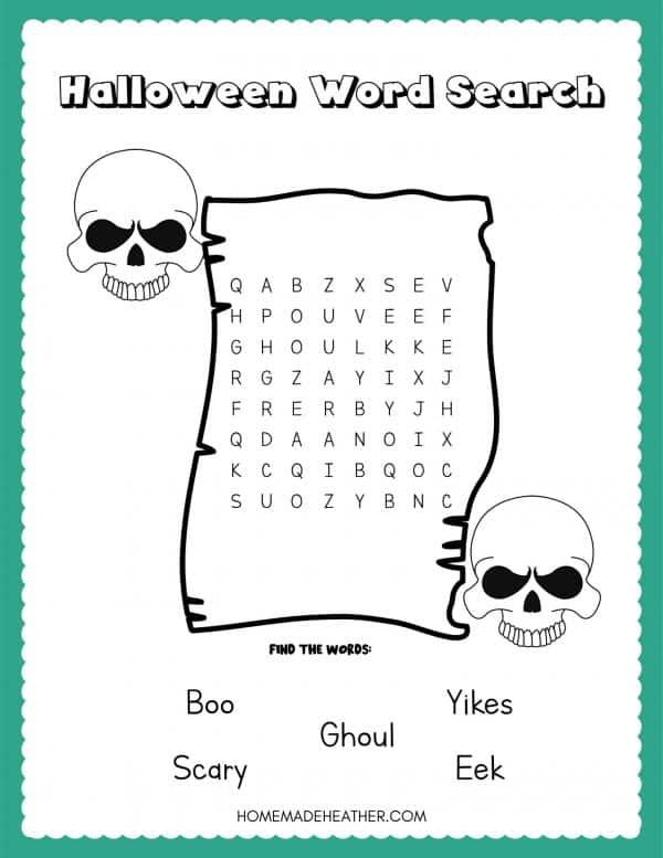 Free Halloween Word Search Printable