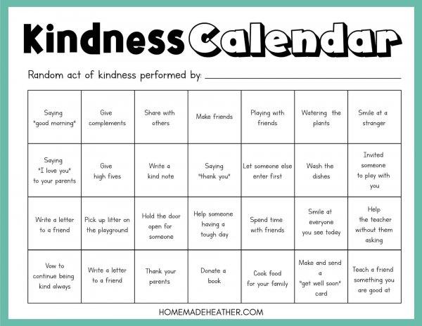 Free Kindness Activity Calendar