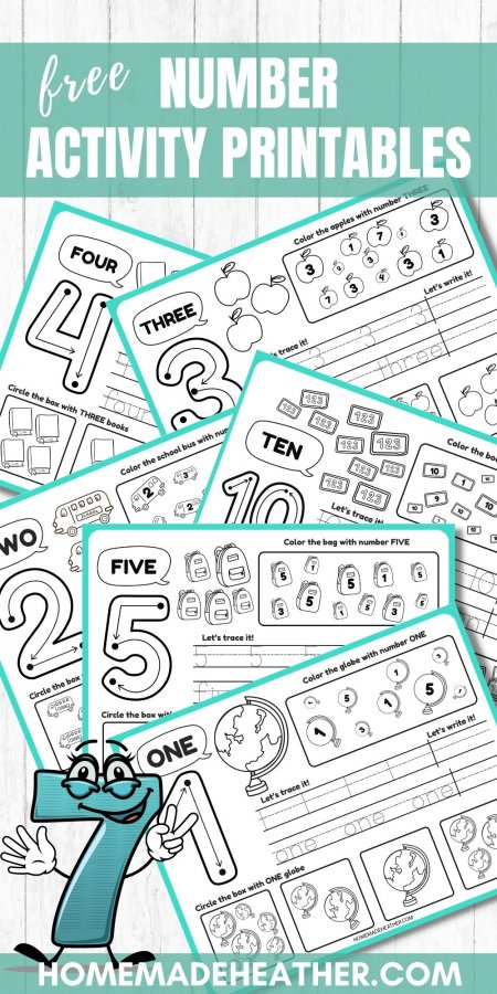 Free Number Tracing Printable Work Sheets