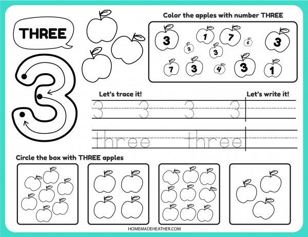 Free Number Tracing Printable Three