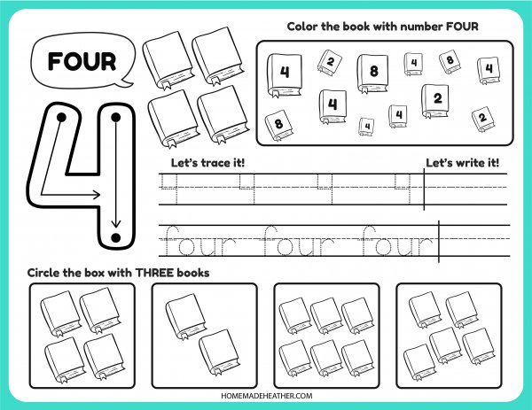 Free Number Tracing Printable Four
