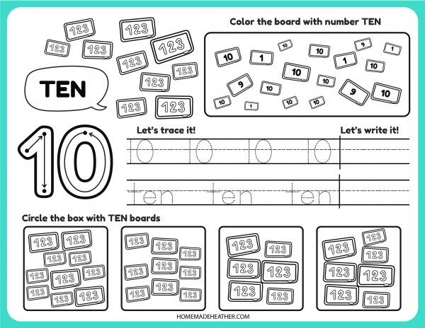 Free Number Tracing Printable Ten