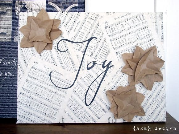 DIY Project: Kraft Paper Embellished Joy Canvas for Holiday Decorating