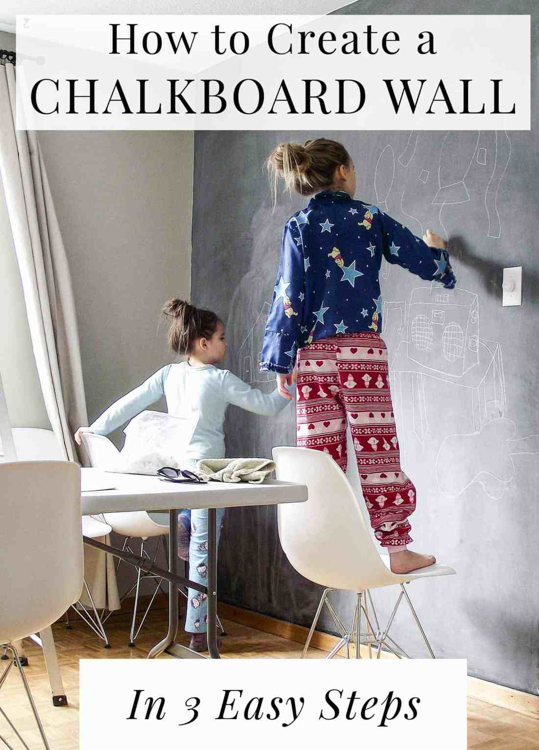 two girls in pajamas drawing on a chalkboard wall