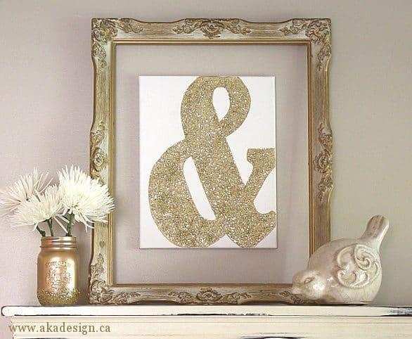 DIY Gold Glitter Ampersand Canvas Art