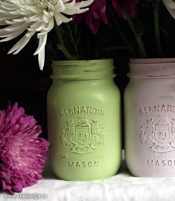 pastel over gold painted mason jars
