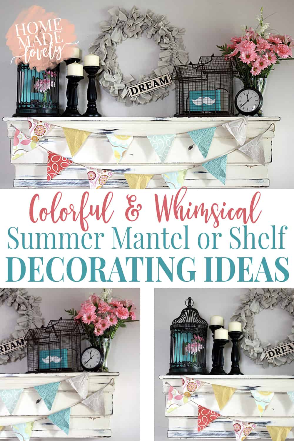 Summer is the perfect time to add a little color and whimsy to your decor. Even if you're a neutrals lover like me. Here are a few colorful and whimsical summer mantel or shelf decorating ideas!