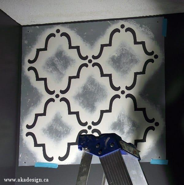 trellis stencil corner ceiling