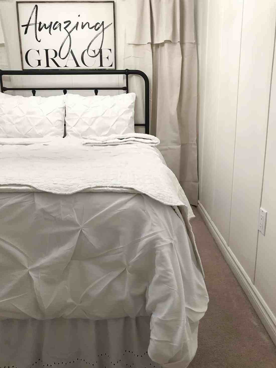 drop cloth curtains in guest room