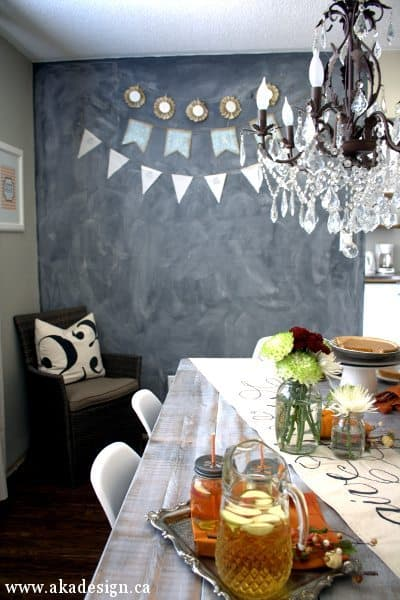 dining room chalkboard and chandelier 1