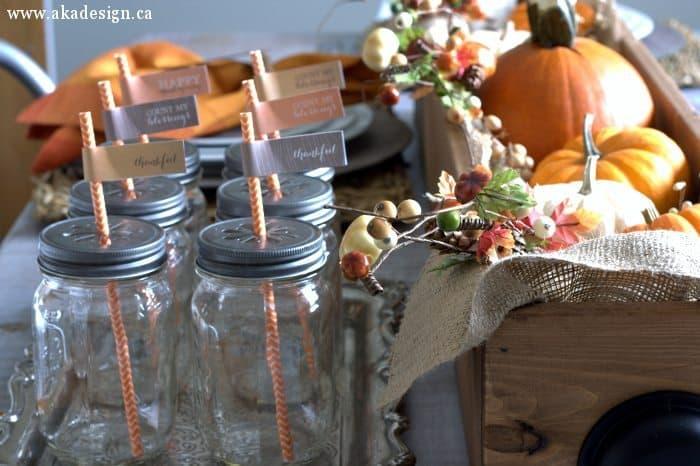 fall mason jars striped paper straws straw tags