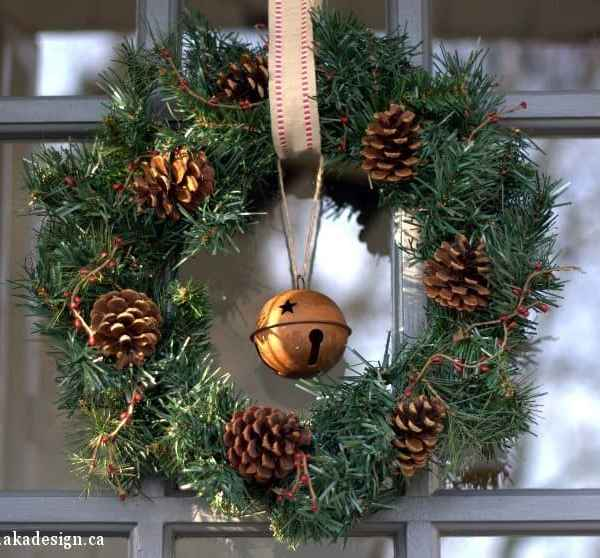 Pinecone & Rusty Jingle Bell Christmas Wreath