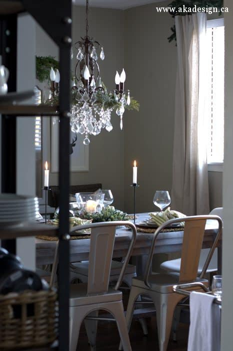 christmas dining room from kitchen