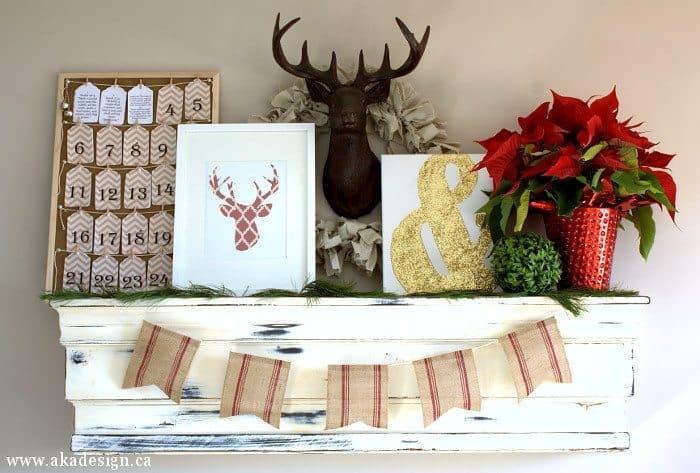 deer head christmas mantel