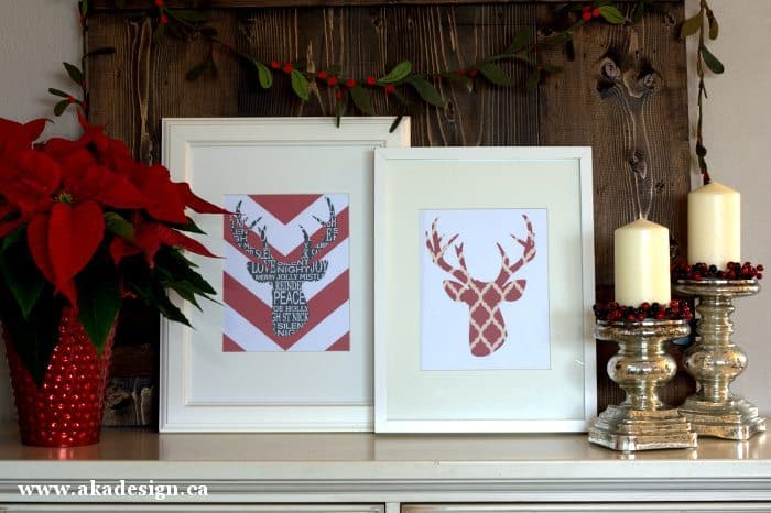 deer head silhouette printables framed