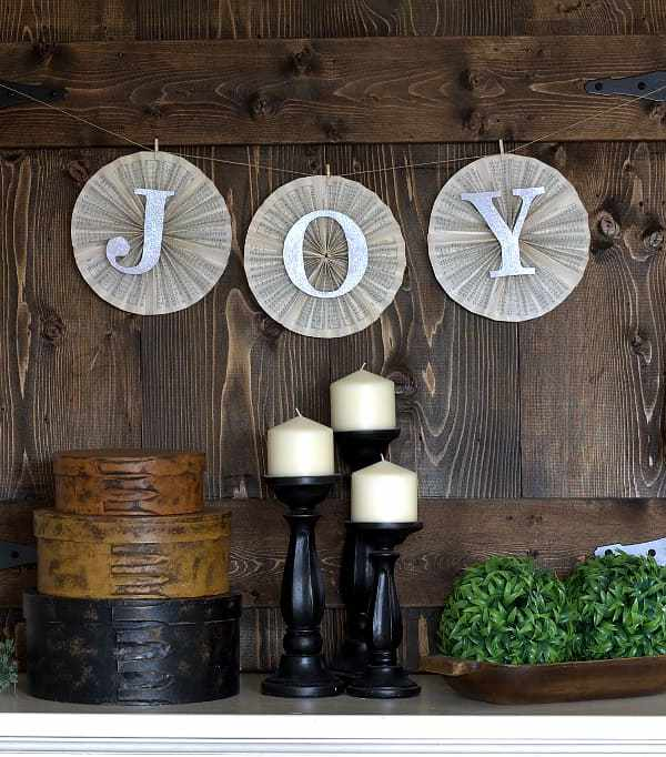 Joy Paper Pinwheel Banner for Holiday Decorating or Inexpensive Gift-Giving