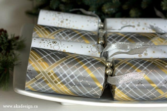 silver and gold Christmas crackers