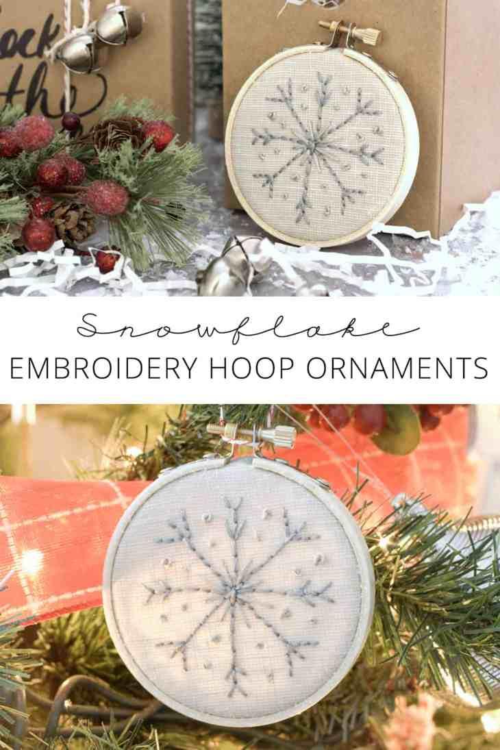 snowflake embroidery hoop ornaments