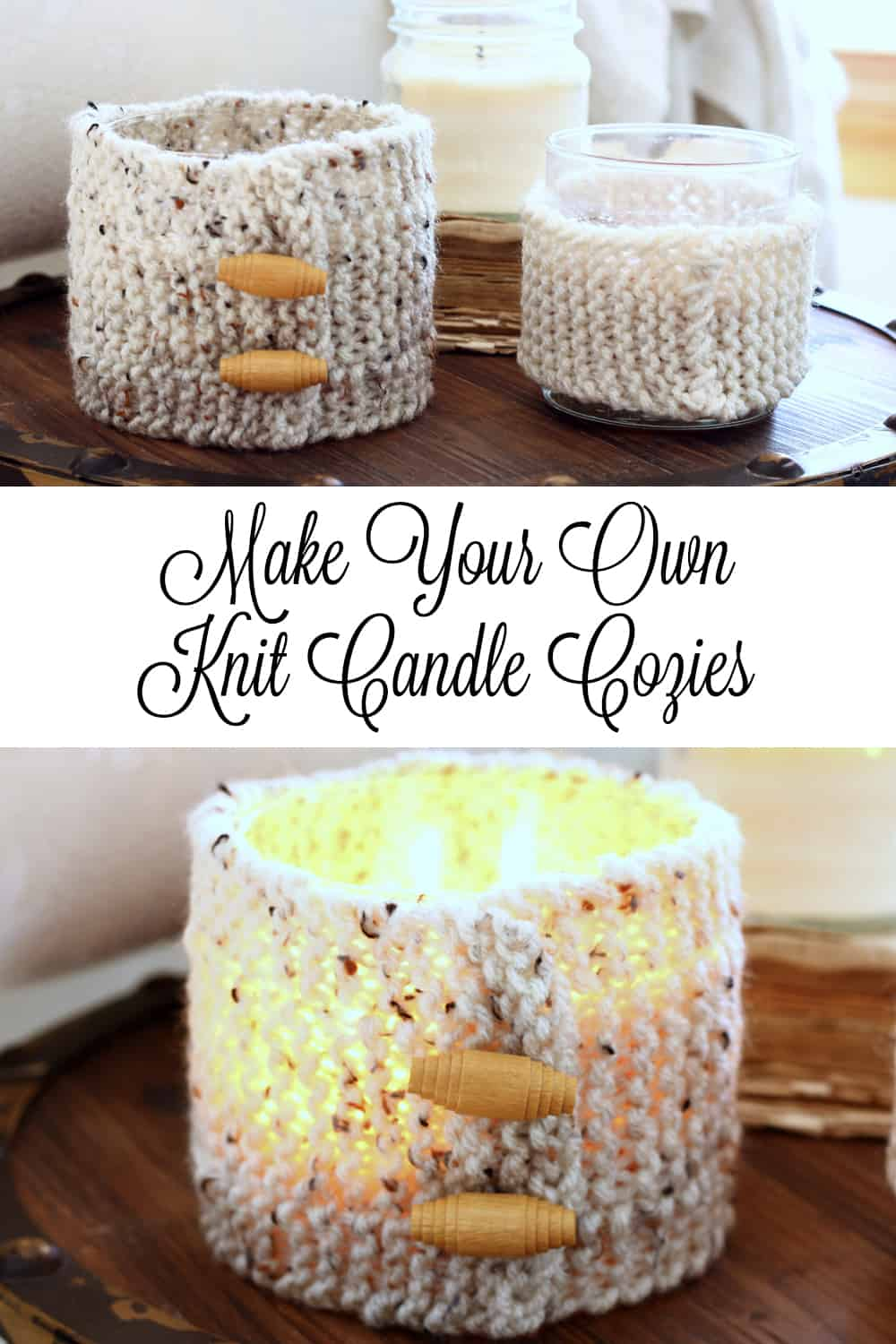 Make your own knit candle cozies