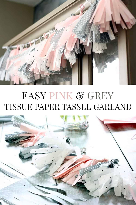 pink and grey tissue paper tassel garland